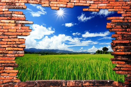 9742982 - brick wall with hole revealing green rice farm and clouds