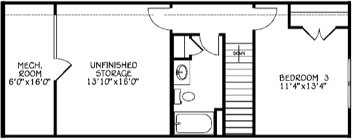 Third Bedroom & Full Bath (Adds 327 Sq/Ft)