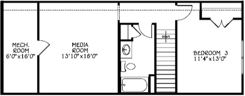 Third Bedroom, Media Room & Full Bath (Adds 562 Sq/Ft)