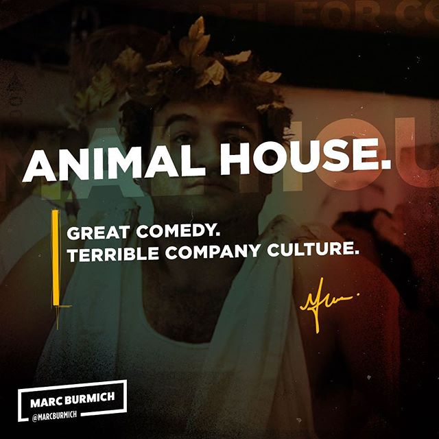 Animal House. Great comedy, bad #companyculture.  Respect the age gap between you, your #customers, and your partners. Know your partners as well as you know your customers.  Check out my latest post. bit.ly/burmich-animal-house  #giveback #entrepreneurship #mentor #learn #business #inspiration #experience #succcess #ceo #startups