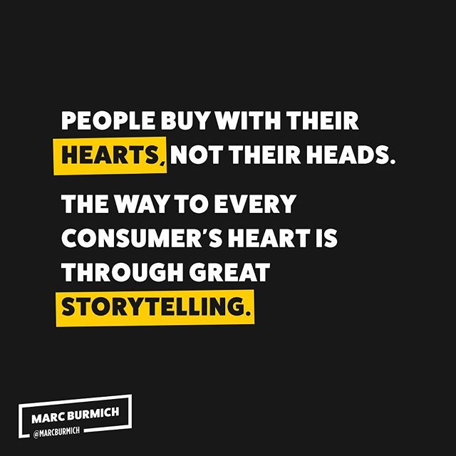 ♥️ Hearts + 📖 Storytelling  People buy with their hearts, not their heads, and the way to every consumer's heart is through great storytelling.  #startups #business #marketing #consumers #advertising #storytelling #buying #opportunity #content #contentmarketing #giveback #goldenrule #dowhatmatters #ceo #inspire #inspirationalquotes
