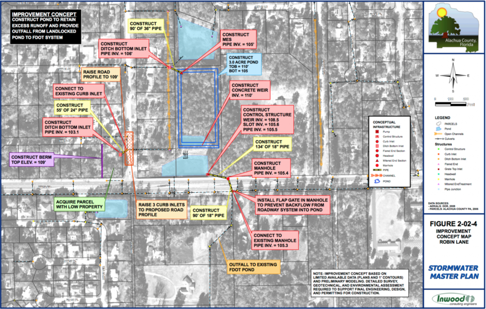 Screenshot of the solution proposed for Robin Lane in the 2010 Stormwater Master Plan.