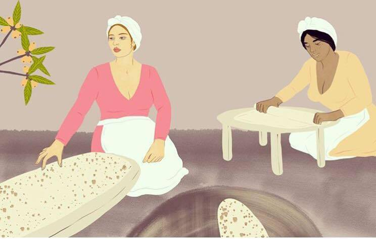 """""""Nor Ashkhar (Նոր Աշխարհ),"""" Courtesy of Alisha Sofia  – One of my favorite pieces I've ever seen, depicting two Armenian women baking lavash bread in a traditional  tonir oven . The title refers to the little yellow  loquat  fruits on the tree in the upper left hand corner — a fruit whose name in Armenian translates to """"new world."""" I am so appreciative of Alisha and her ability to feature and empower traditional Armenian women through refreshing, new mediums!"""