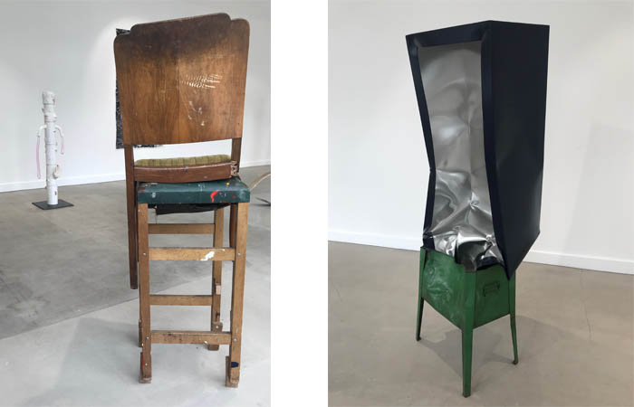 de la Cruz,  Three legged Chair on Stool  (2002) and  Crate (Navy)  (2018)