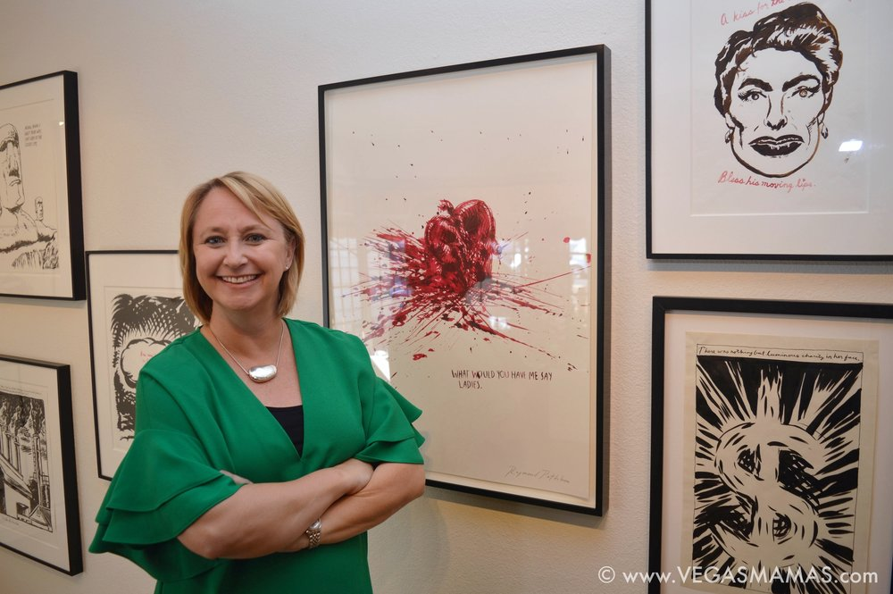 """Michele C. Quinn in front of her favorite Raymond Pettibon piece,  """"What Would You Have Me Say Ladies"""""""