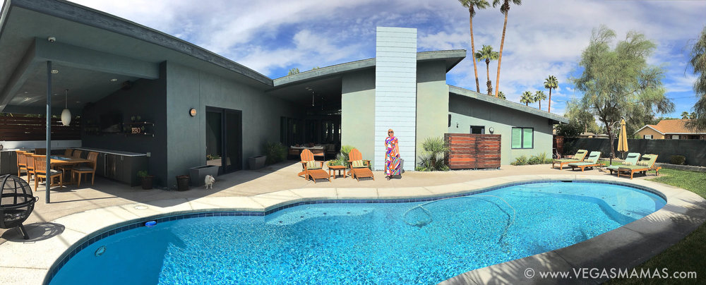 Michele in her backyard; pictured here in our VEGASMAMAS signature pool shot.