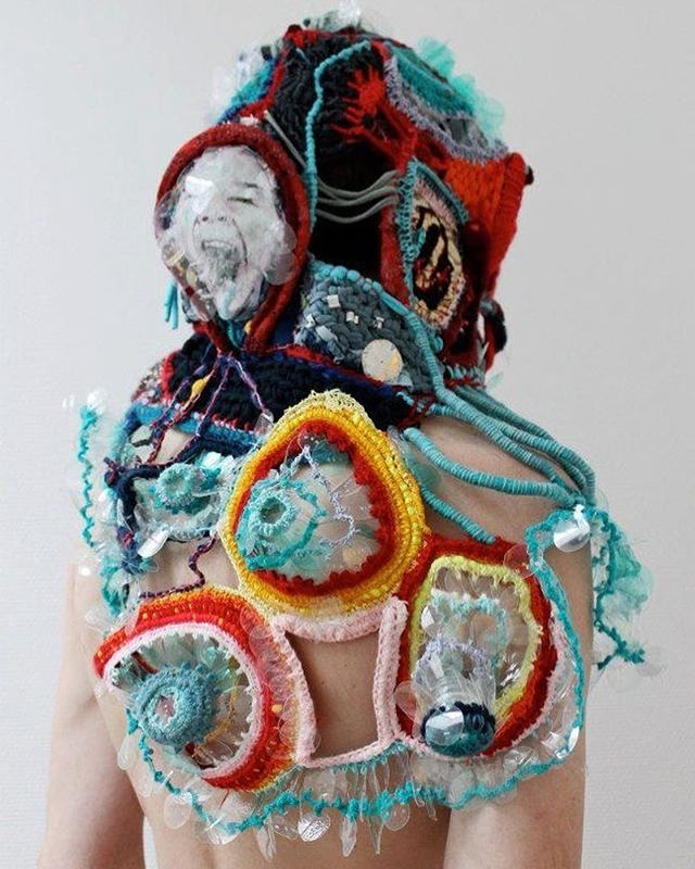 Wearable art made with yarns and old toys, sculpted by Mona Luison. Truly an #inspiration - Image Cr: Pinterest