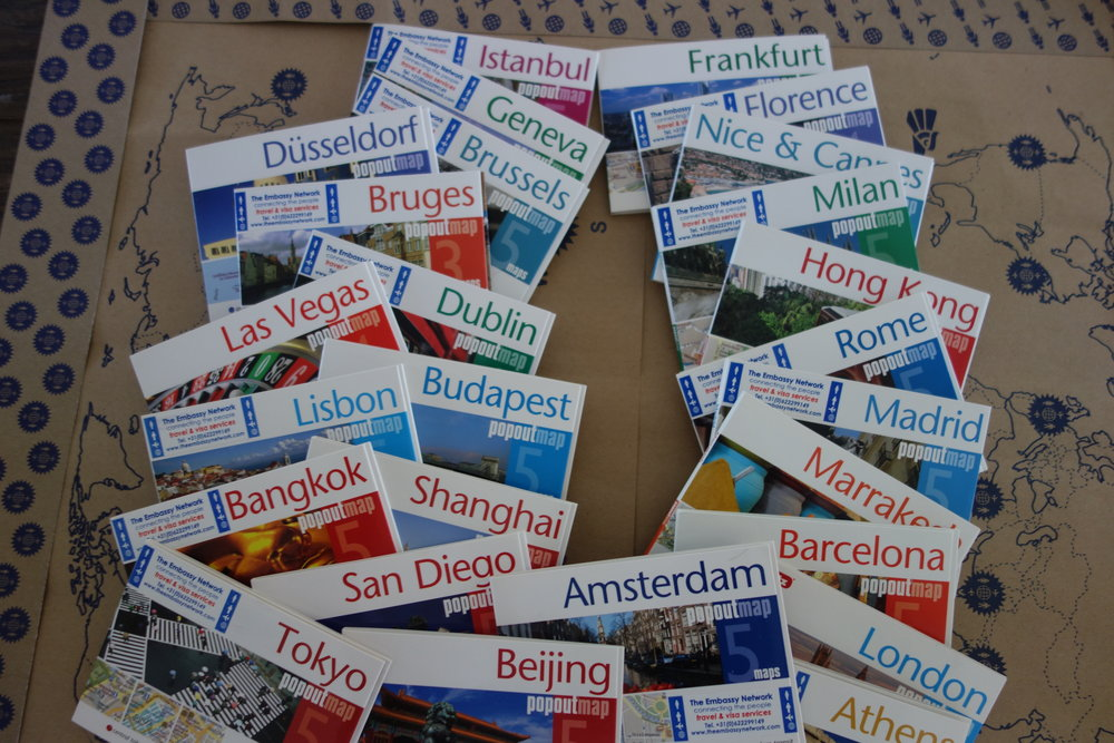 Pop out city maps Europa USA Asia various cities