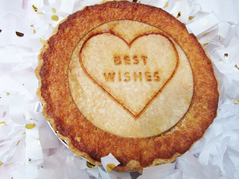 "Messaged ""Best Wishes"" Lemon Chess Pie"