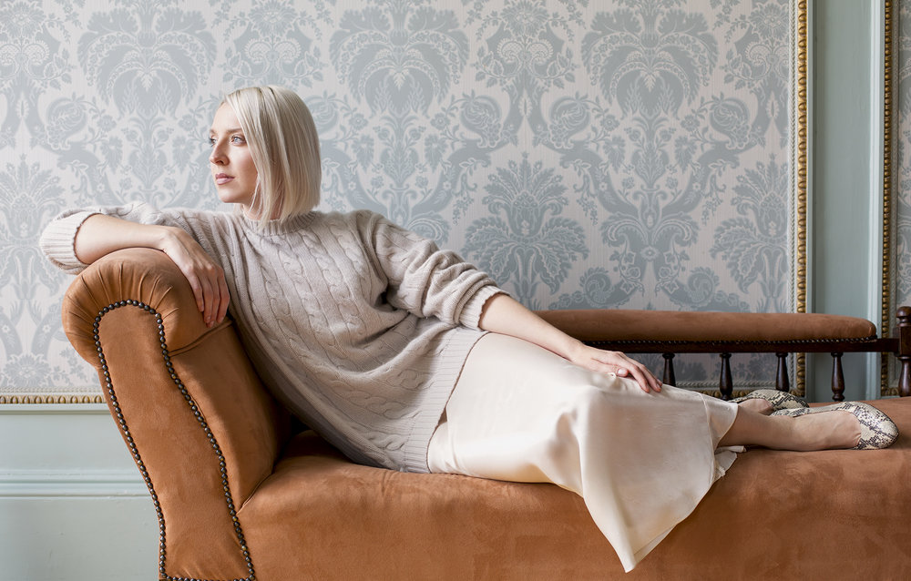wearing the cable knit in haze, shot by Eve Conroy at home for No.1 Magazine