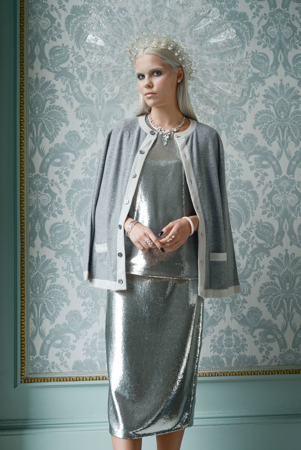 Nina wears: headpiece by  Sally Ann Provan , top & skirt DVF from  Jane Davidson , cardigan by Cross Cashmere, diamonds from  Rox