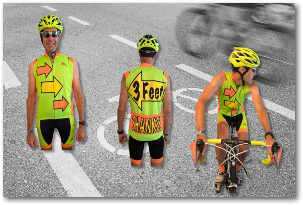"""Breitz!B108 Sleeveless """"3 Feet, Thanks!"""" Jersey - communicates respectfully with drivers and feels darn cool to wear,"""