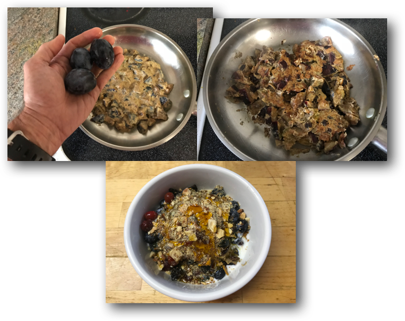 What I call Italian Plum Pan Toss - improvised from Fresh Apple Pancake recipe.