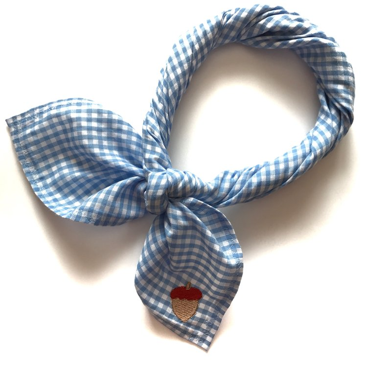 Blue & White Gingham Square Scarf - With embroidered acorn