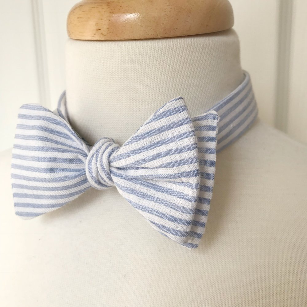 Blue & White Seersucker Adjustable Bow Tie