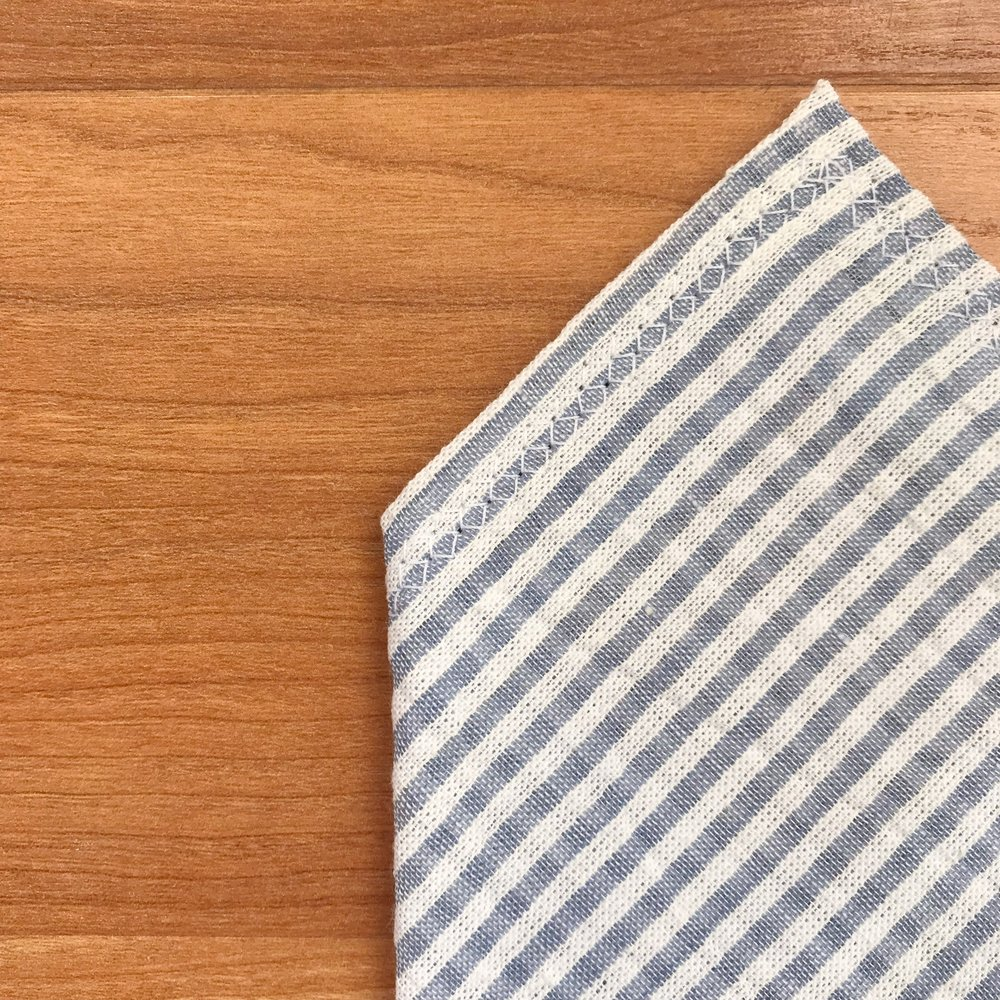 Blue & White Seersucker Pocket Square