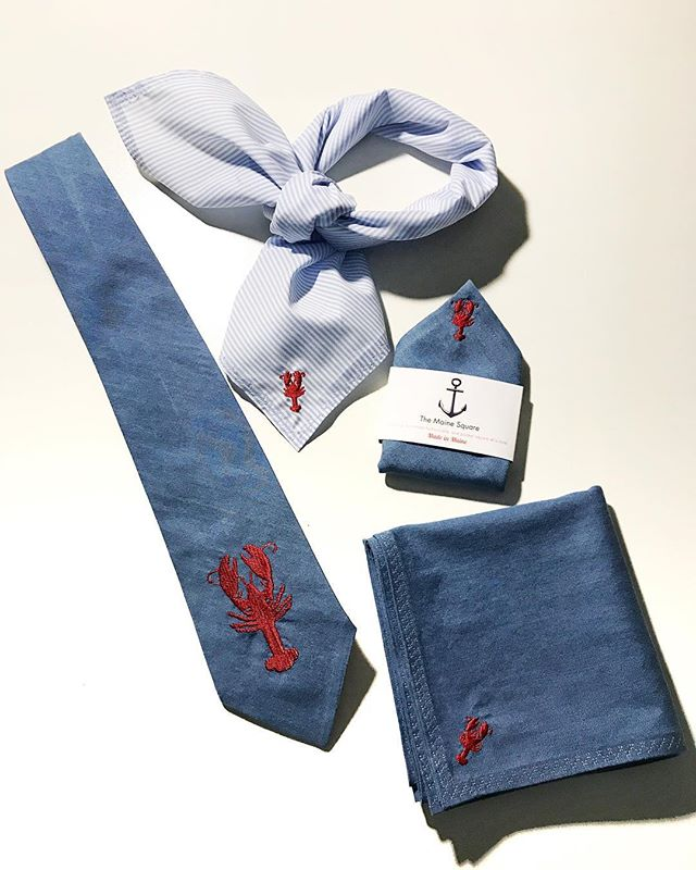 "Embroidered lobster accessories for him & her. You don't get any more ""Maine"" than that! 🌲⚓️ #hisandhers  #TheMaineSquare #bandana #pocketsquare #bowtie #necktie #madeinmaine #mainemade #custommade #buylocal #buysmall . . . . . .  #menswear  #unisexstyle #wear  #menwithclass #nautical #womenwithclass #newengland #style #mensstyle #preppy #classic #handkerchief  #classicstyle #maine #customorder #giftsforhim #giftsforher #tailored"