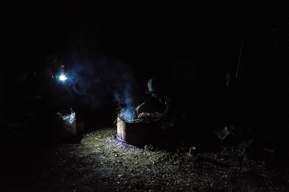 Jonathan.  Fires are started every evening and before everyone lays down for sleep tobacco and cedar are burned.