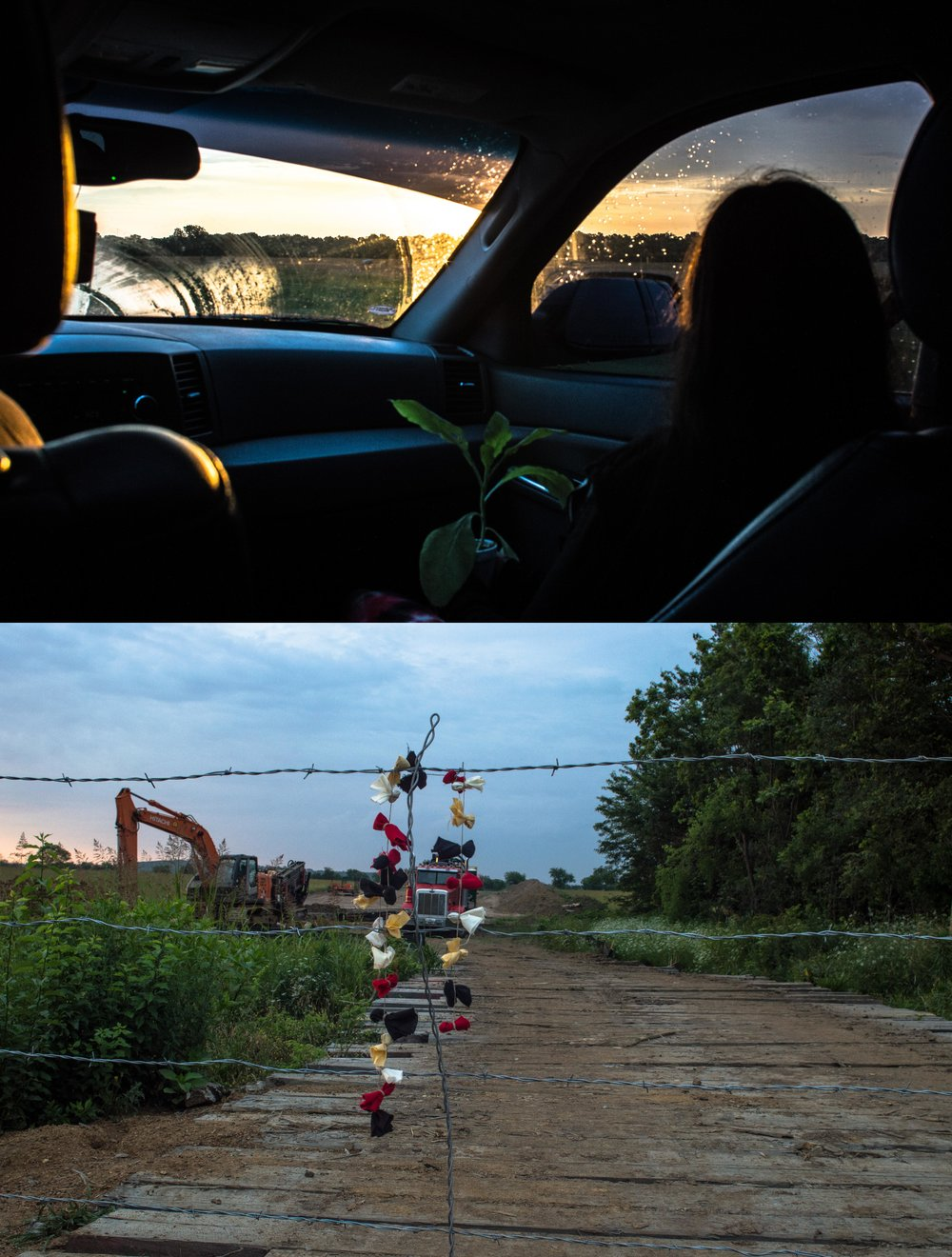 (top) 6:27 A.M. The location had been scouted in the weeks before.  Somewhere near Checotah, Oklahoma.    (bottom) 6:33 A.M. Prayer ties are hung on the entrance gate.