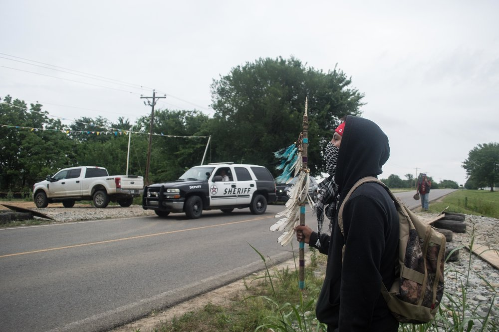 8:29 A.M. After prayer and the OK from Ben, the Choctaw Elder, the group decides to leave.  They have accomplished their goal for the day.  The locals have seen them.  The media has seen them.  They have their numbers and will fight another day.