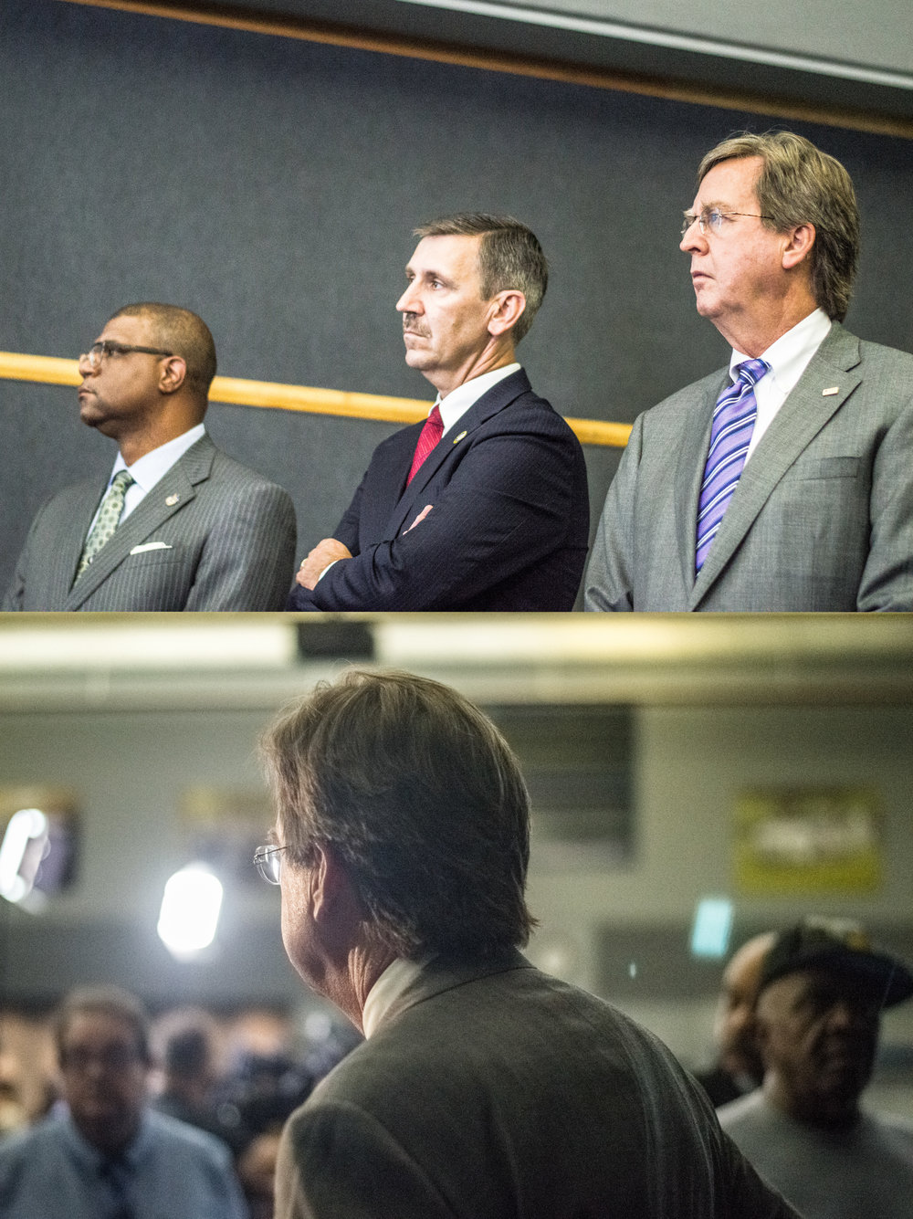 September 19. 1:52 P.M.    (TOP)  Tulsa County District Attorney Steve Kunzweiler (Center) and Tulsa Mayor Dewey F. Bartlett (Right) at a press Conference held by Tulsa County Officials 3 days after the Death of Terence Crutcher.  (Bottom)  Mayor Bartlett leaving the press Conference.
