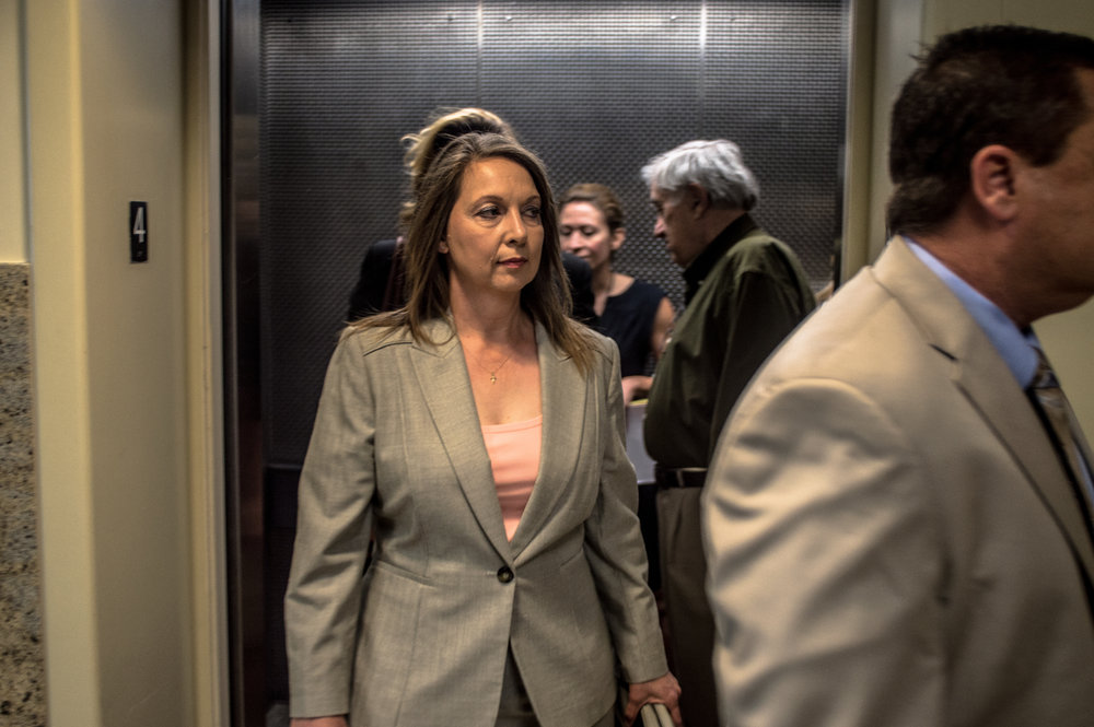 May 16, 2017.  8:43 P.M.  Officer Betty Shelby arrives at the Tulsa District Courthouse for the seventh day of her manslaughter trial.
