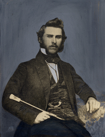 Young J. Allen in his early twenties; he mentions in a letter to his aunt and uncle (who raised him) that he stopped shaving his beard at the outset of the American Civil War. It is apparent that he never picked up the habit again.