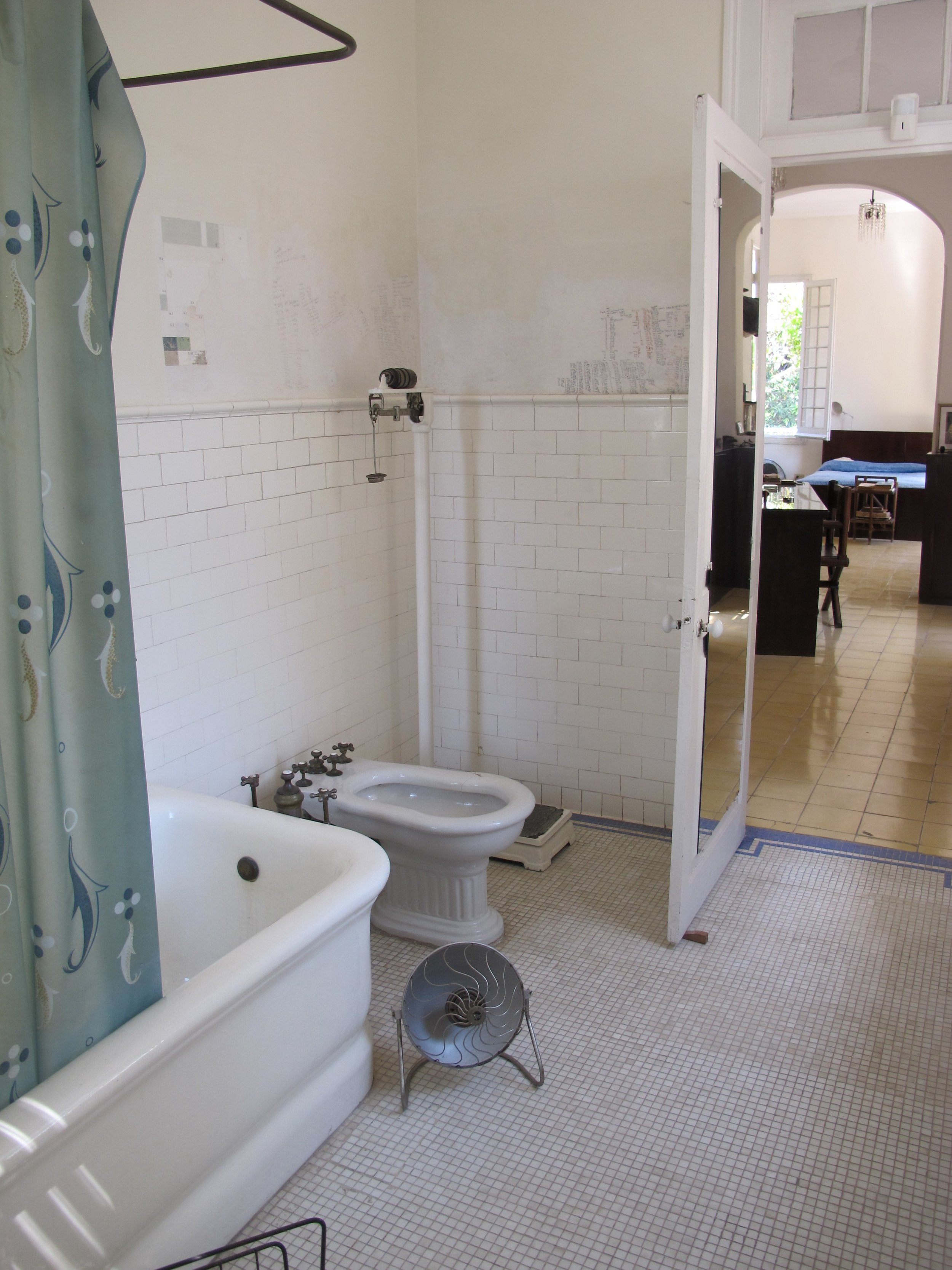 Bathroom, where he obsessively logged his weight daily