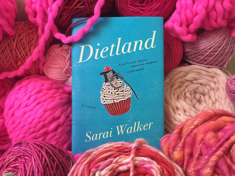 Krista's copy of Dietland along with her grandmother's pink yarn haul. Grandma is 85 years old and is excitedly knitting pussyhats for the Women's March on Washington D.C.!  Photo by: Krista Suh.