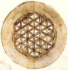 Leonardo da Vinci - Flower of Life      Codex Atlanticus,folio 309v (1478 - 1519) - Image source: Wikimedia Commons