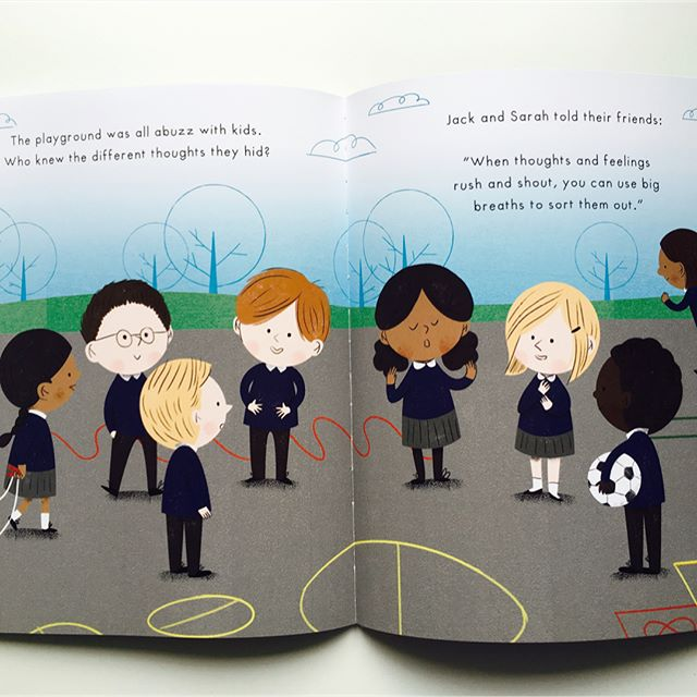 """The playground was all abuzz with kids. Who knew the different thoughts they hid?"" Have you read the award-winning Mind Hug book? It's a family and school favourite for children's mental health and wellbeing. Part of every sale supports @_place2be's work in schools. . . Story by Emily Arber and illustrations by Vanessa Lovegrove @vloveg . . #ChildrensMHW #ChildrensMentalHealthWeek #ChildrensMentalHealth #MentalHealth #Mindfulness #MindfulnessForKids #ReadForEmpathy #PictureBook #Storybook #BooksForKids #MindHug #KidLitpicks #kidslit #kidlit"