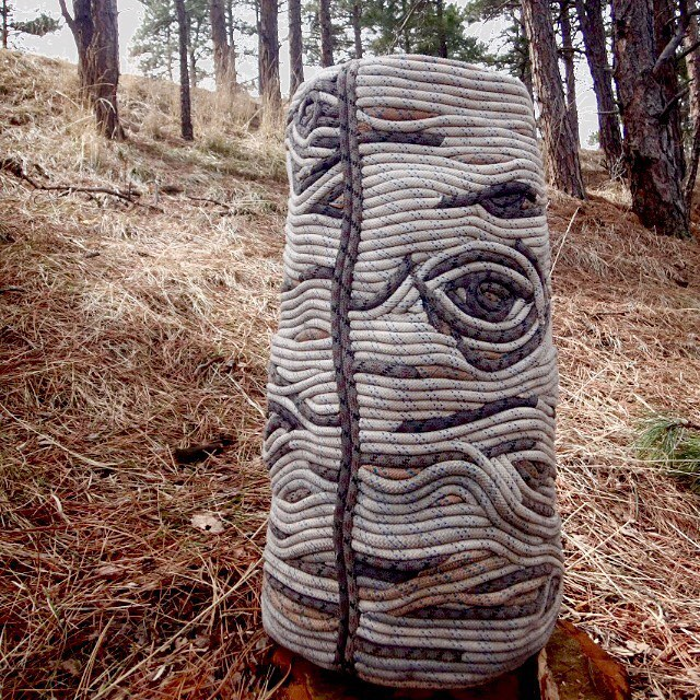 """Premeadow"" 25x12"" 2019 #premeditation #art #thoughtforfood #thebooks #climbingropeart #climbingrope #climbing #aspen #eyes #eyeball"