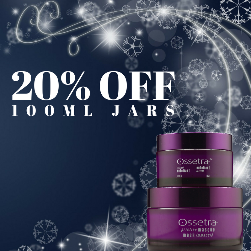 20% off Ossetra's 100ml Jars of Instant Exfoliant or Pristine Mask