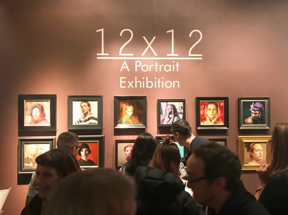 "The opening of ""12×12, A Portrait Exhibition"" at The Florence Academy of Art–U.S. at Mana Contemporary in Jersey City, N.J., on Jan. 12, 2018. (Milene Fernandez/The Epoch Times)"