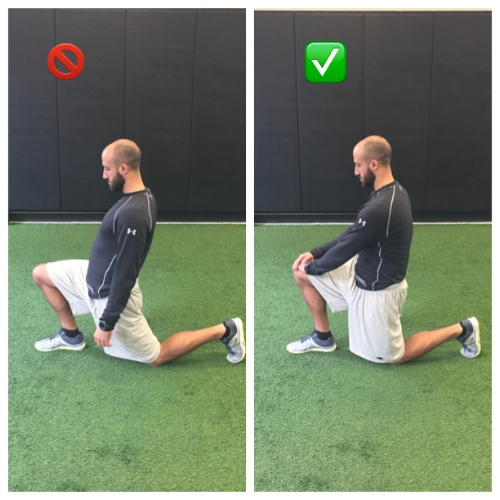 Lower Back is too extended on the left. On the right, lower back is neutral and pelvis is posteriorly tilted to target the quad & hip flexor stretch.