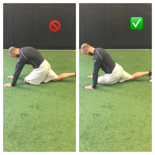 Spine is too rounded in picture on the left. On the right, spine is neutral while shifting weight and back and to the left to target the stretch.