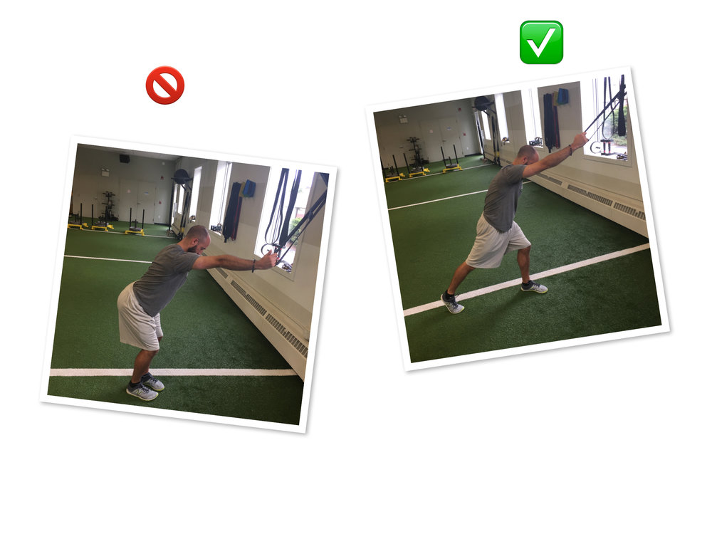 Lower back is too extended and elbow is hyperextending in the picture on the left. On the right, the spine is neutral and elbow joint isn't hyperextending.