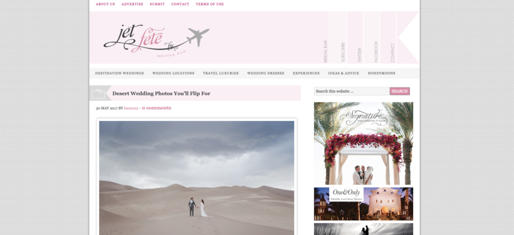 A screenshot of the Jet Fete blog website.