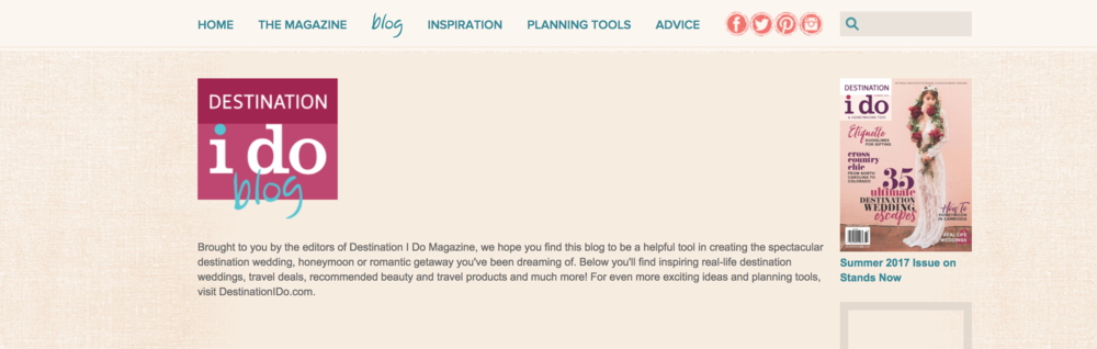 A screenshot of the Destination I Do blog website.