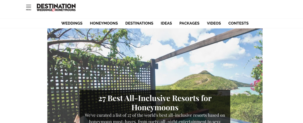 A screenshot of the Destination Weddings & Honeymoons blog website.