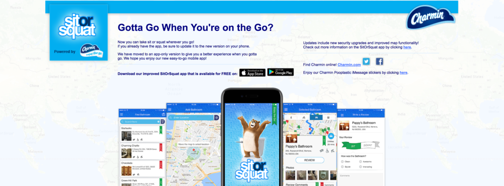 A screenshot of the Sit or Squat app in action.