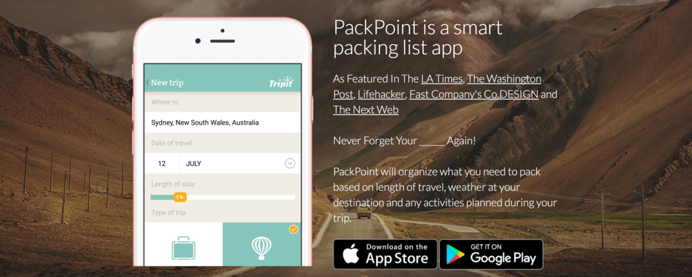 A screenshot of the Packpoint mobile app in action.