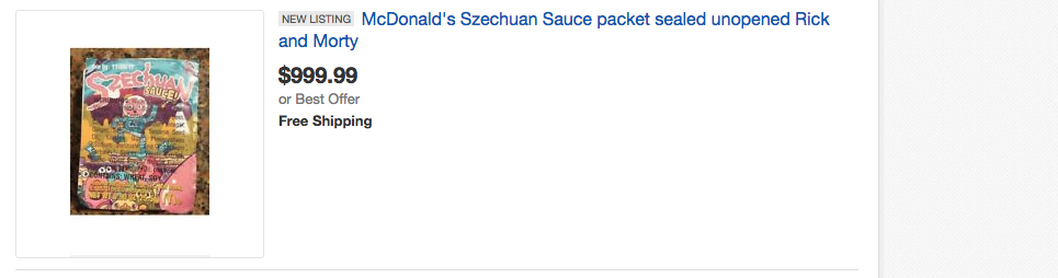 Sales of szechuan dipping sauce on Ebay.com