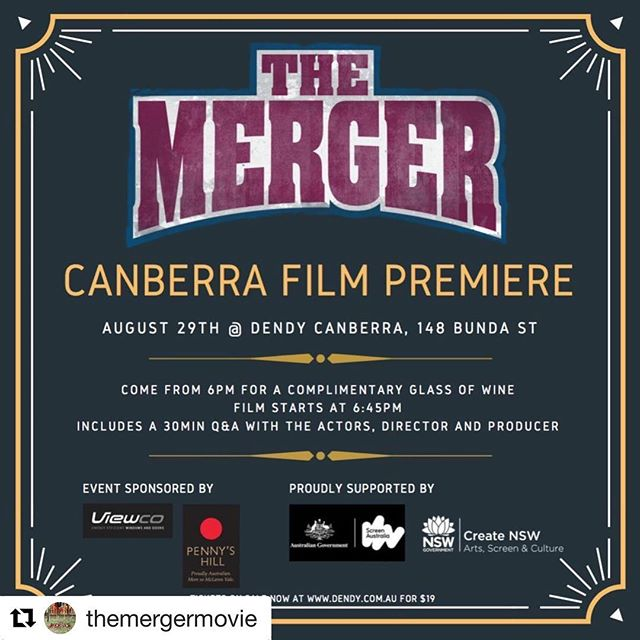#Repost @themergermovie with @get_repost ・・・ Come on Canberra! Join us for the Canberra Premiere at Dendy Cinema tomorrow night - with Q+A after the screening. Tickets at www.dendy.com.au #canberra #dendy #comedy #funny #cinema #movie #afl