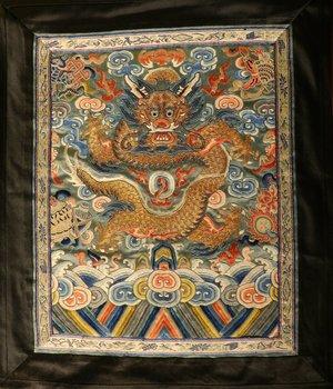 古董皇帝龙刺绣丝绸面板