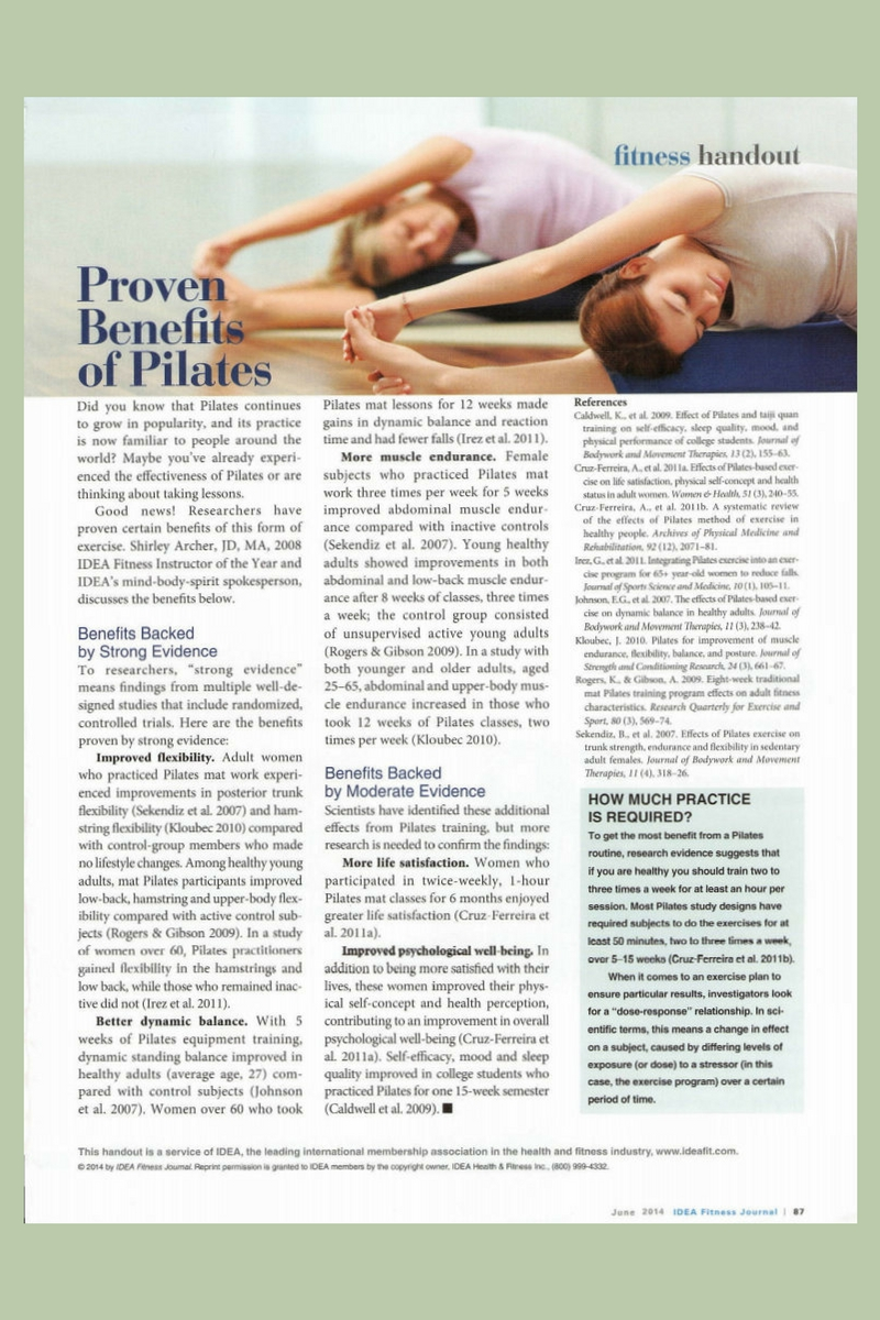 Proven Benefits of Pilates Handout by Shirley Archer June 2014