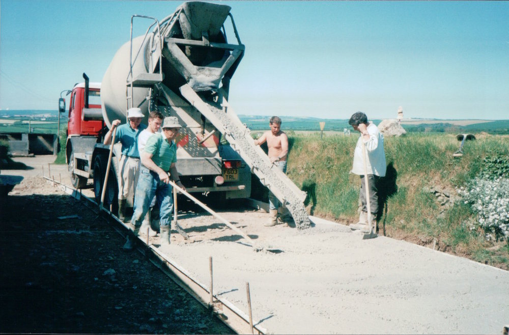 Concreating the driveway in 1998