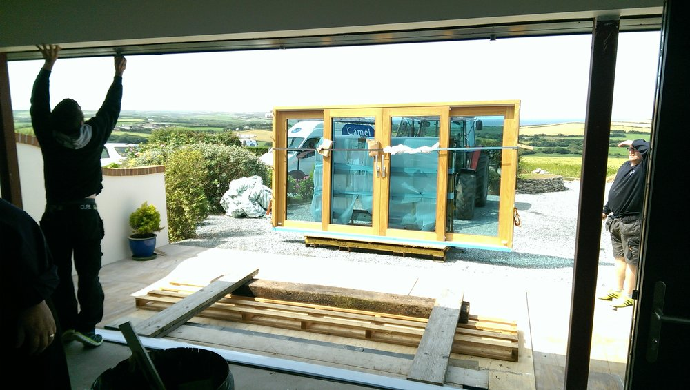 Fitting the sliding doors using Rogers tractor