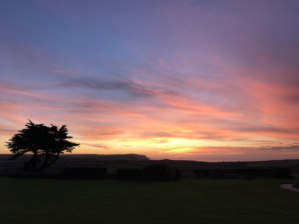 Sunset over Wooldown Holiday Cottages, taken November 2017