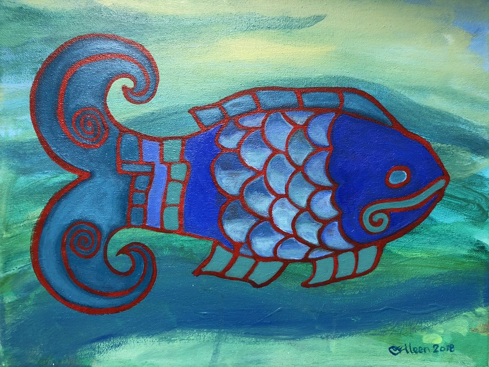 "The Srtiation Series continues with the addition of fish and undersea animals. 11""x14"", acrylic on canvas."